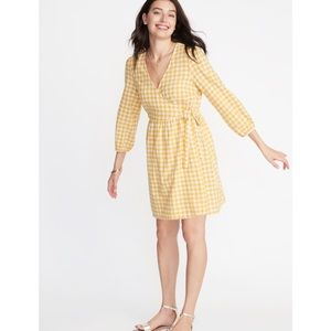 Old Navy Yellow Gingham Defined Waist Dress